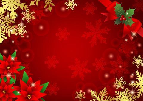 ポインセチアと雪のクリスマス背景赤