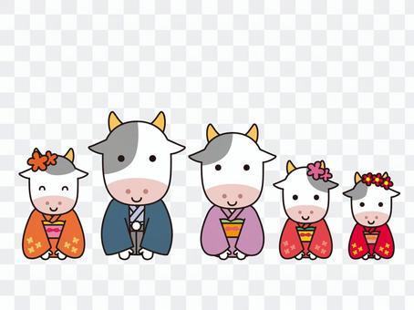 2021年 年賀状素材 着物の牛親子