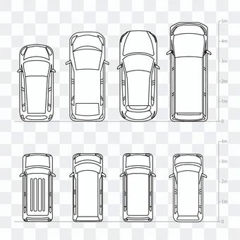 色々な車種メモリアり線画