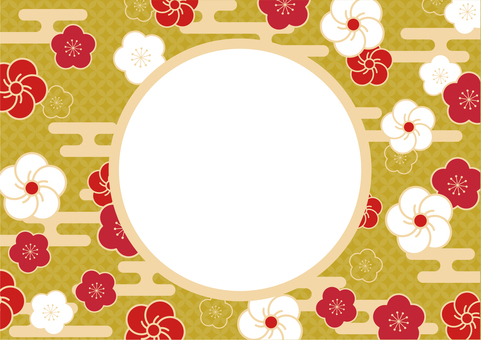 Background with Japanese pattern (plum) frame