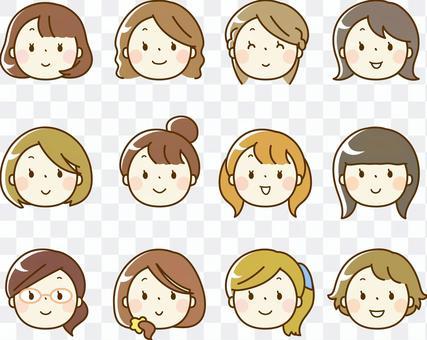 各种女性脸图标(只有脸)