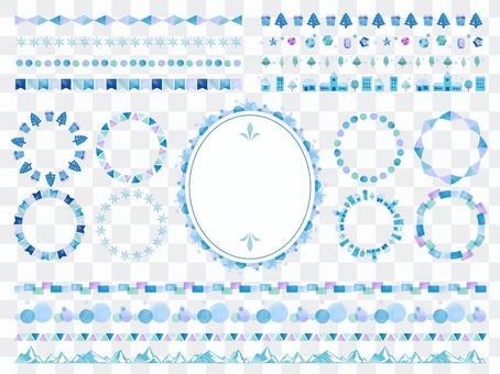 水彩風格線刷套裝/冬季/藍色
