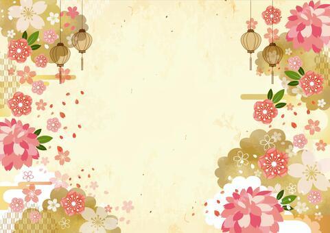 日式梅花和櫻花背景素材