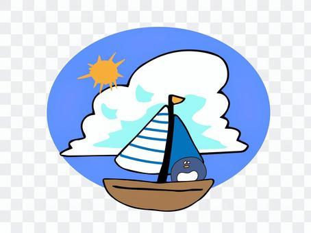 ヨットに乗るペンギン