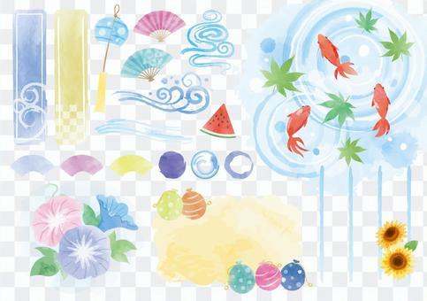 各种夏季水彩材料