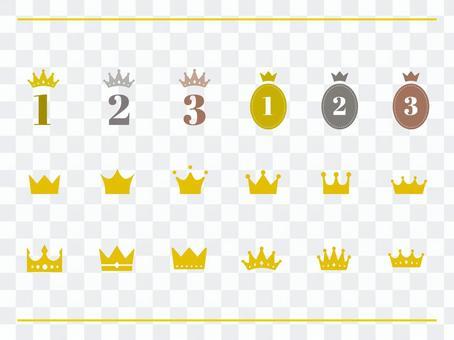 各種皇冠排名圖標的插圖