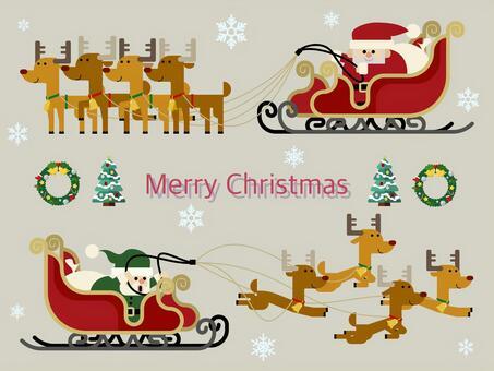 聖誕老人和馴鹿和雪橇的插圖集