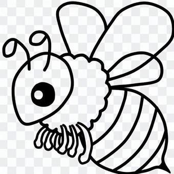Cute bees (line art)