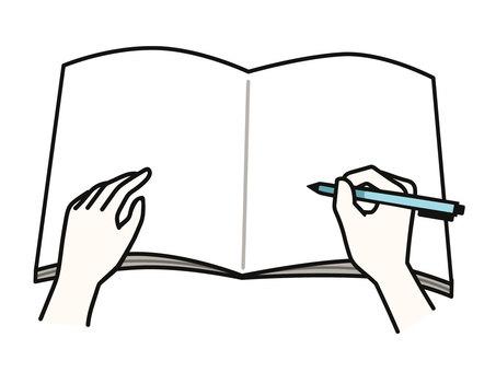 手寫在筆記本上