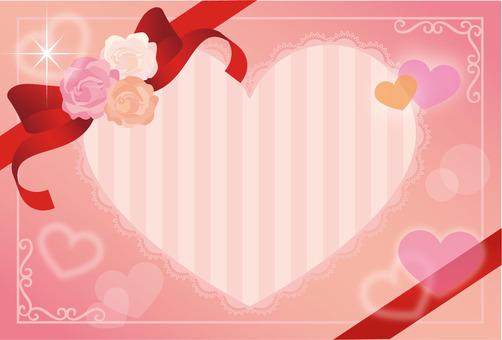 Heart ribbon and rose frame