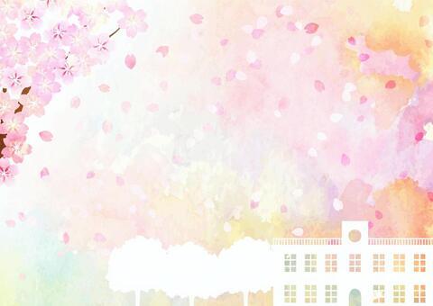 水彩風格的花朵和教學樓的風景水平