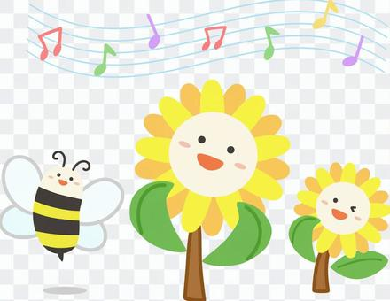 Sunflower and bee music singing a song