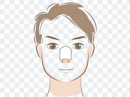 一個戴著鼻子包的男人的臉