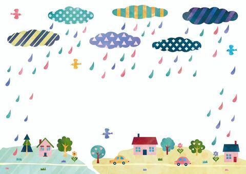 吹滅雨的A4水彩背景框架
