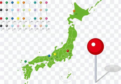 日本地圖縣地圖Pin