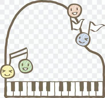 Cute note character and piano frame