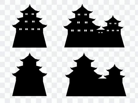 Japanese castle Silhouette material set