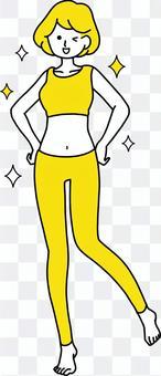 Successful diet Rejoice woman jump yellow