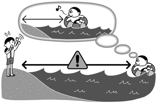 海水浴の注意点 イラスト モノトーン版
