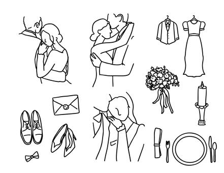 婚禮簡單的線描集