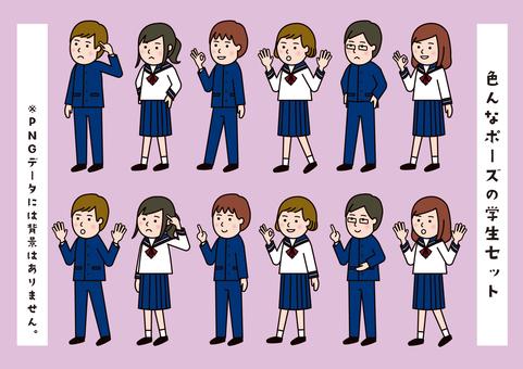 Sailor suit & school run student in various poses