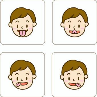 男孩的卡做舌頭體操