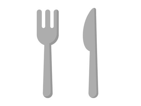 平刀和叉子的插圖