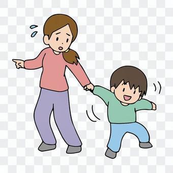 多動の子供の手を引く母親、外出、お出かけ