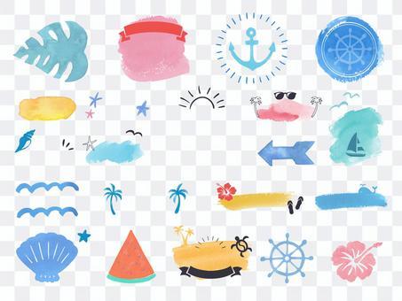 夏季水彩插圖和標題設計集