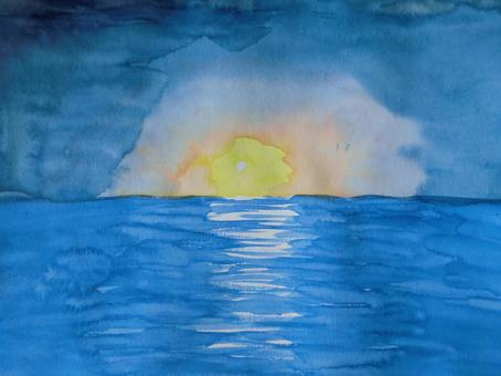 日出(透明水彩)