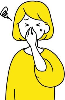 女人捏她的鼻子聞起來乾淨的設計