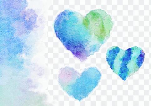 Blue gradation heart color watercolor set