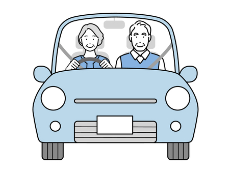 駕駛在汽車的資深夫婦
