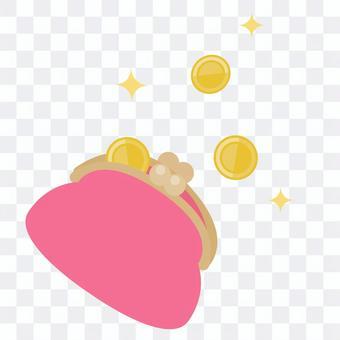 三枚硬幣和閃光裝在錢包裡
