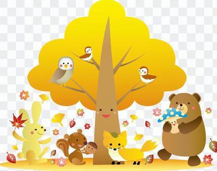 在秋天的樹上的動物的快樂例證