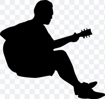 吉他手剪影