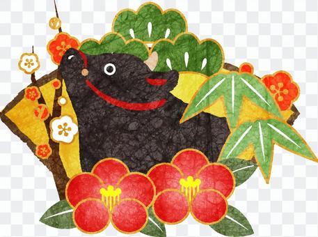黒丑と松竹梅&椿の年賀状素材