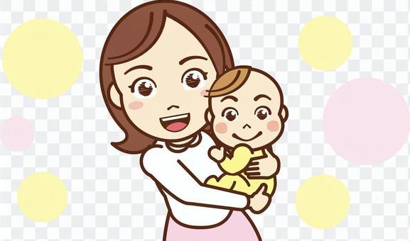 媽媽抱的嬰兒
