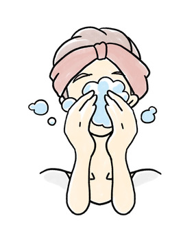 Adult girls washing their face with plenty of foam