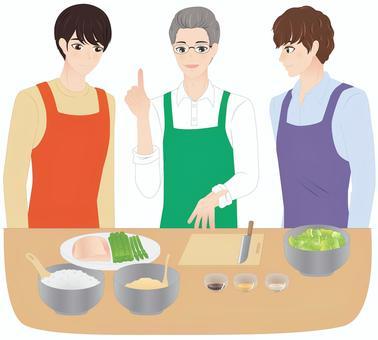 A man attending a cooking class