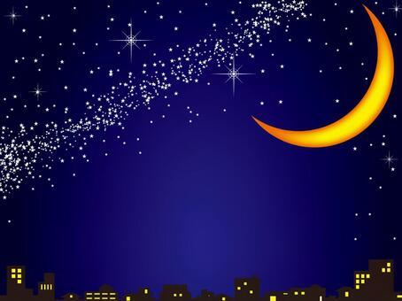 夜空和新月
