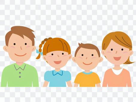 5916.Family of four, upper body