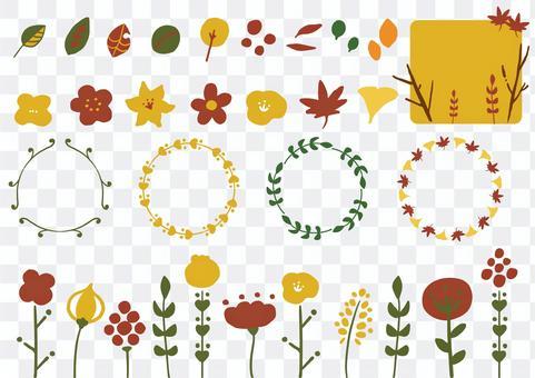 かわいい秋の手描きイラストセット