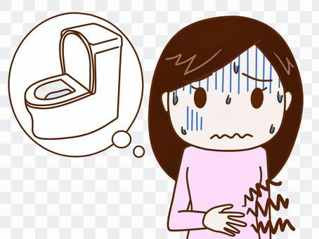 肚子疼痛苦的女人