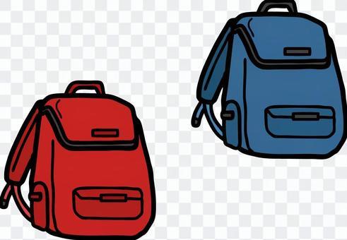 背包,紅色和黑色