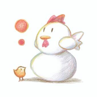 卵に乗るニワトリと見上げるヒヨコ