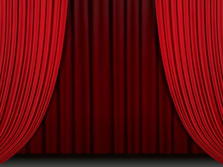 Stage with curtain · sideways · red