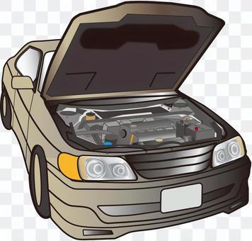 一個帶有發動機罩的汽車開了