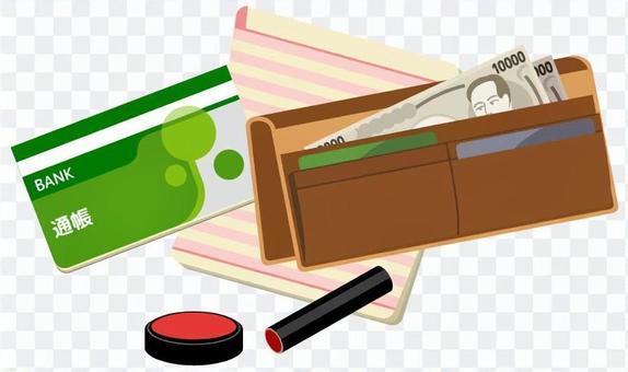 錢包和存摺和密封(綠色