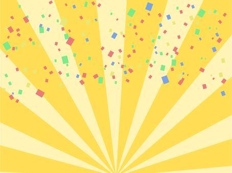 黃色集中線和五彩紙屑的插圖